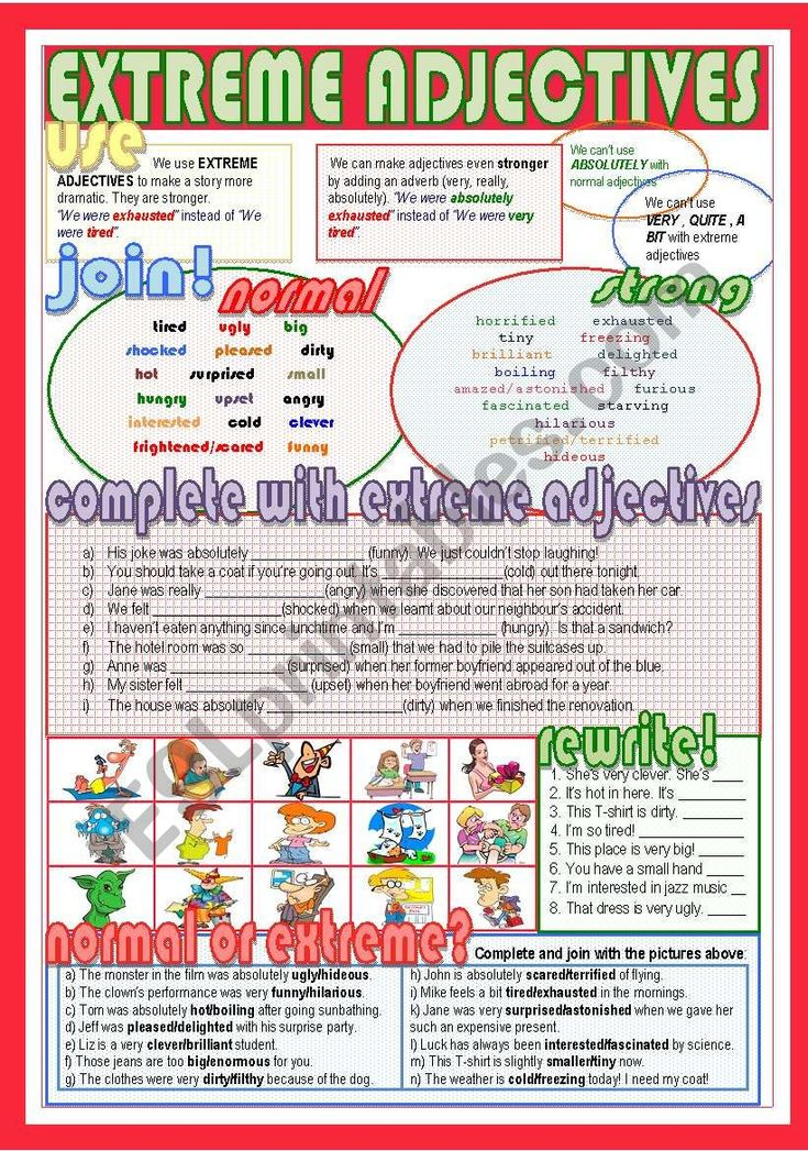 Extreme adjectives ESL worksheet by Nuria08 in 2020