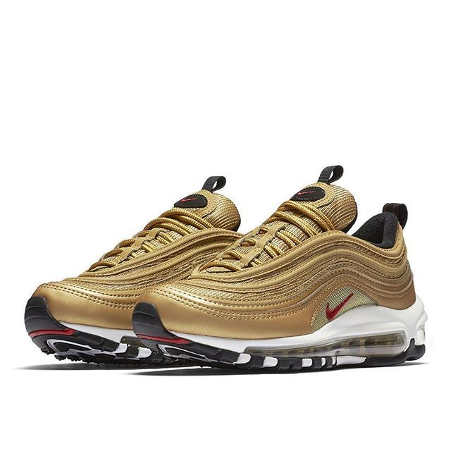 """The Nike Air Max 97 OG """"Metallic Gold"""" is set to release in kids sizes too. For a look at the official images, tap the link in our bio. #sneakers #adidas #sneakerfreaker #reebok #sneakerporn"""