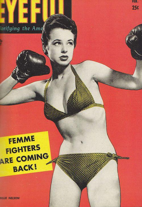 eyeful magazine - Retro magizine cover / retro pin up / boxing girl / vintage boxing / vintage bathing suit / vintage boxing gloves /