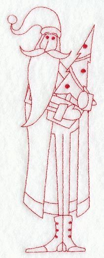 Skinny Santa with Tree (Redwork) on Embroidery Library