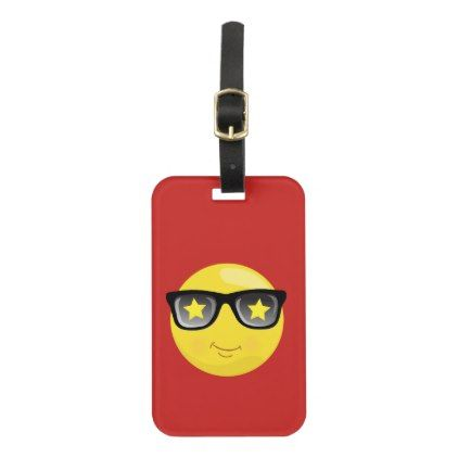 Rock Star Emoji on Red Luggage Tag - cool gift idea unique present special diy