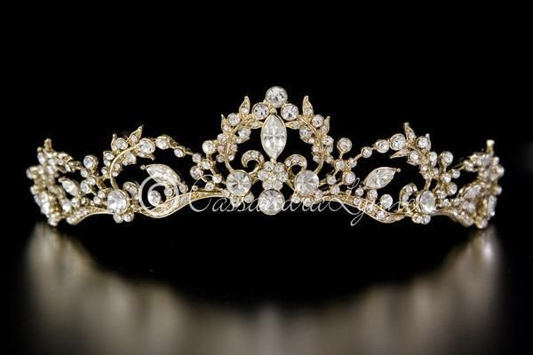 Gold Wedding Tiara Vine Design with Rhinestones #GoldJewelleryWedding