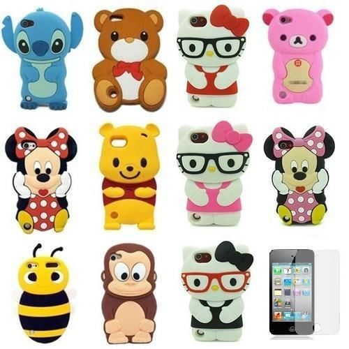 1 x 3D Cute Cartoon Silicon Soft Cover Case + Film For iPod Touch 5 5TH GEN 5G