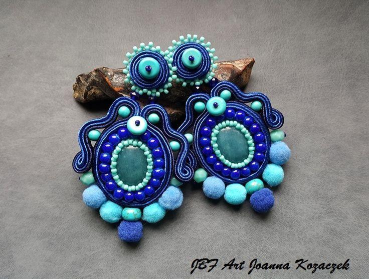 Pom pom blue soutache earrings - JBF Art