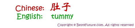 "Chinese characters for ""tummy"""