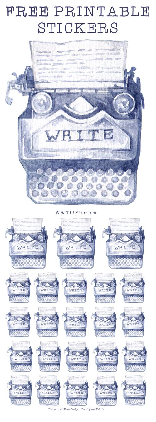 "Free Printable ""WRITER"" Typewriter Stickers in two different sizes.  Painted in watercolor, this planner sticker is perfect for marking writing time in your daily schedule and looks gorgeous in minimalist or vintage themed bullet journals!"