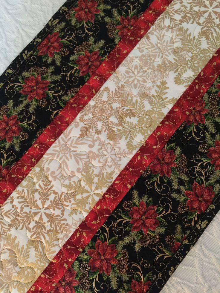 Christmas Table Runner Quilt, Black, Red, White, Gold, Snowflakes, Pointsettia, Floral, Quiltsy Handmade by KeriQuilts on Etsy