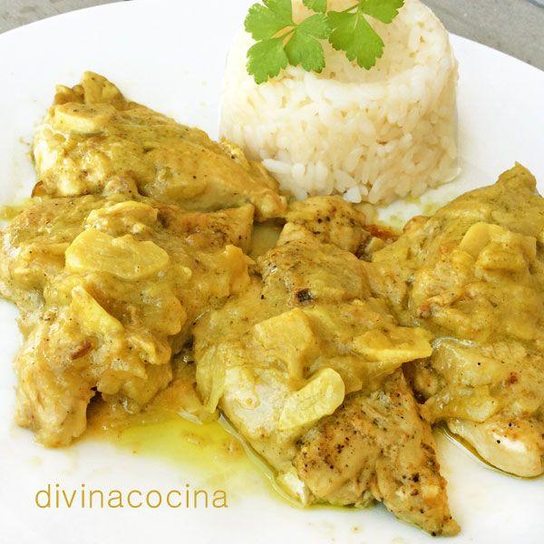 Estas pechugas de pollo al curry se preparan en pocos minutos y resultan muy sabrosas y ligeras. Si quieres que el guiso tenga más salsa solo tienes que añadir más leche y agua y espesar si lo crees necesario con un poco de Maizena express o harina tostada.