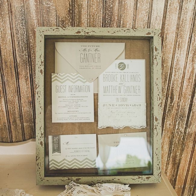 Beautiful neutral chevron invitation keepsake // Front Porch Farms //  Teale Photography // http://www.theknot.com/weddings/album/a-vintage-country-wedding-in-charlotte-tn-148644