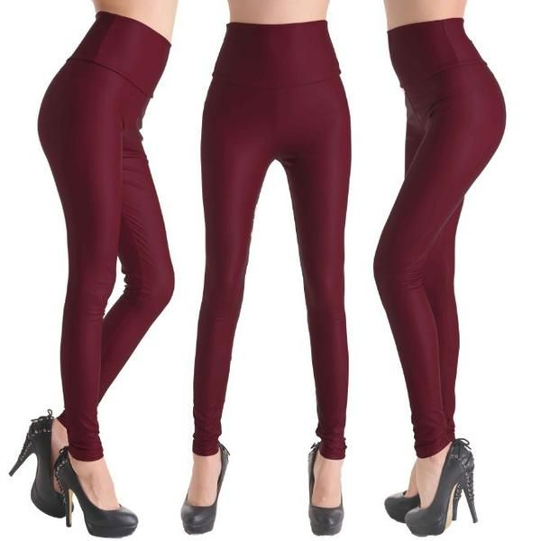 2017 New Women Sexy Leggings Faux Leather Stretch Legging High Waist Leggings  Juniors Pants 4 size 21 Colors