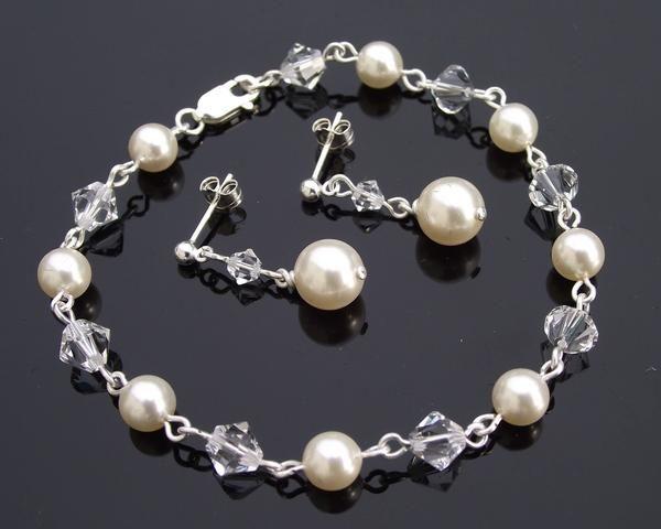 Bracelet & Earring Sets - Swarovski Crystal & Pearl Bridesmaids Bracelet & Earring Set, Portia