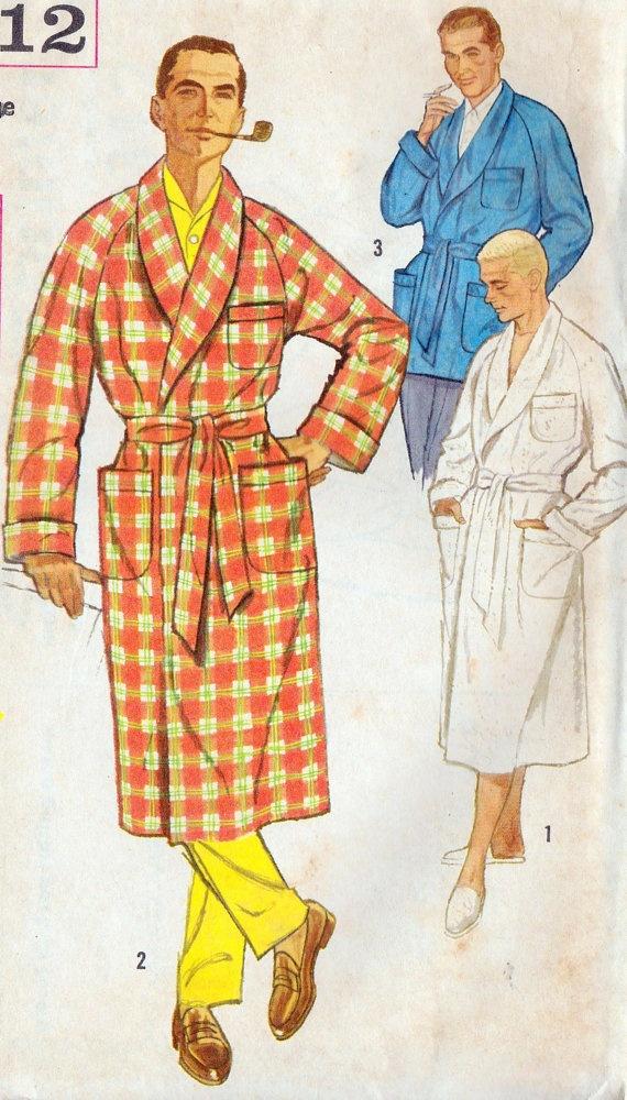 1950s Mens Robe Vintage Sewing Pattern Smoking Jacket