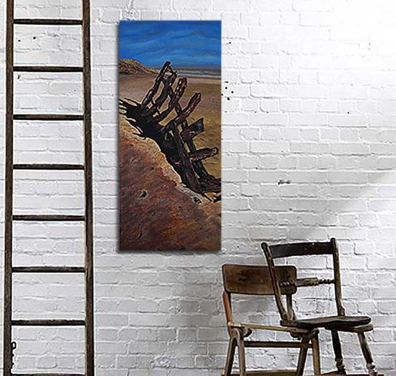 Alone with the sand-Original art seascape oil painting by Blowart