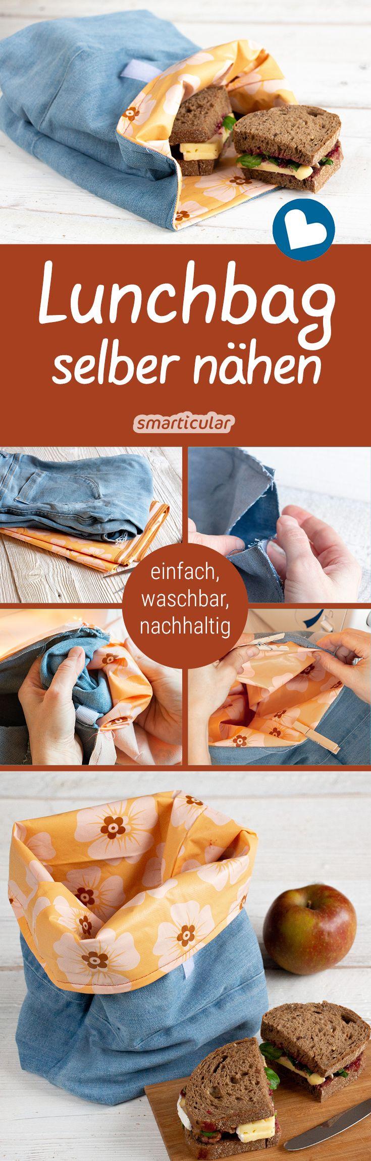 DIY-Lunchbag: Brotbeutel aus Wachstuch und Stoffresten nähen