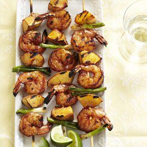 Shrimp and Peach Kabobs