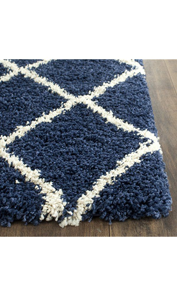 Safavieh Hudson Shag Collection SGH281C Navy and Ivory Area Rug, 9 feet by 12 feet (9' x 12') Best Price