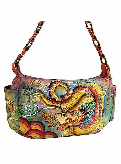 Chka Leather Cat Handbags Bags Hand Painted East West Bag 506idg Purses Pinterest Imperial Dragon Painting And