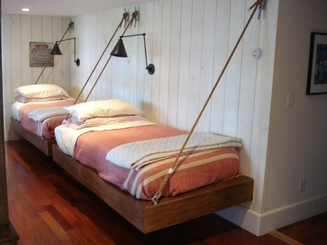 Suspended guest beds -- lake or beach or boys room