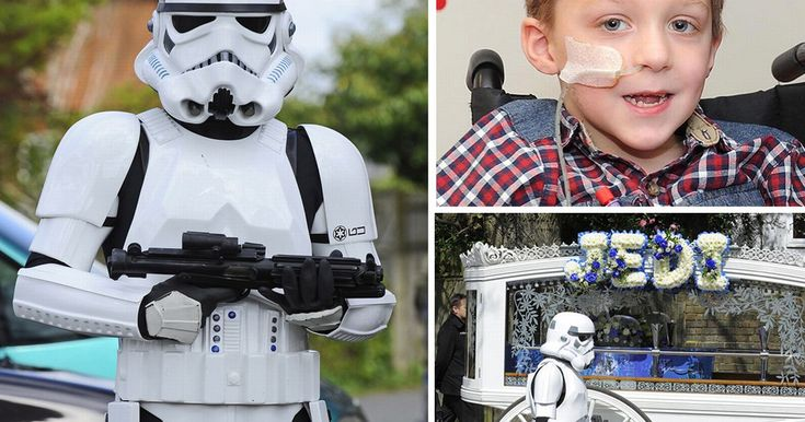 Tragic Jack - who won the hearts of celebs including Gary Barlow and Matt Smith - arrived surrounded by Stormtroopers