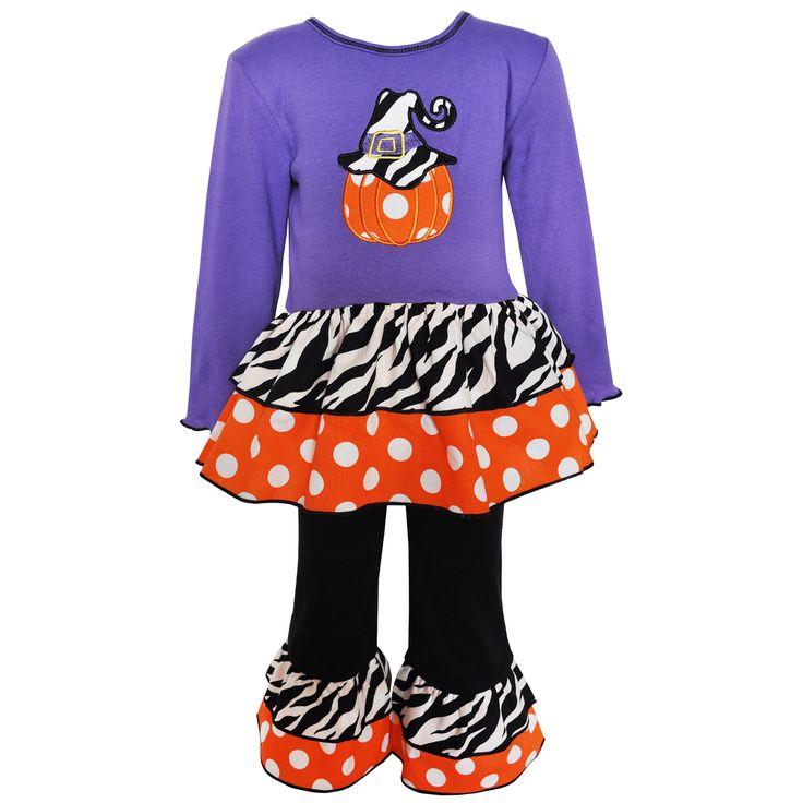 Ann Loren AnnLoren Girls' Purple Pumpkin Outfit
