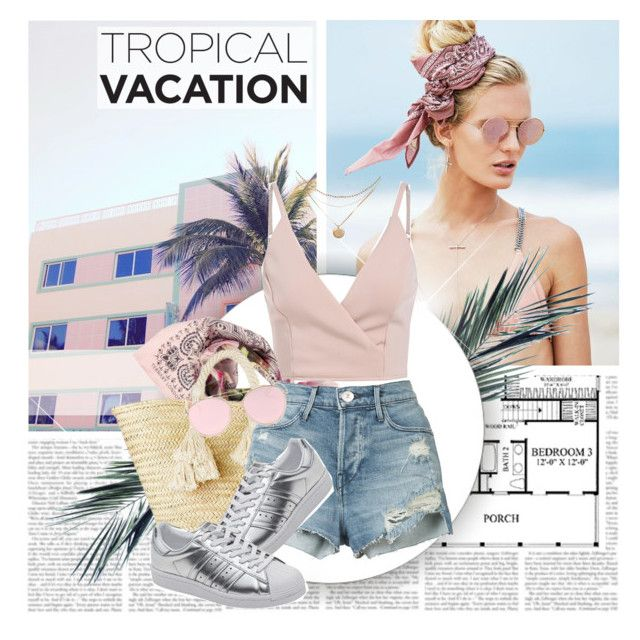 """""""Pastel Tropical Vacation"""" by virginia-laurie ❤ liked on Polyvore featuring Beach Riot, Ternary London, Giselle, 3x1, LMNT and adidas Originals"""