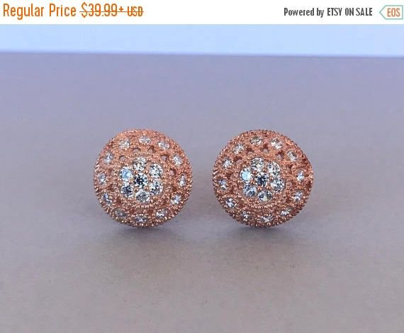 Art Deco Round Simulated Diamond Rose Gold Earrings, Sterling Silver Round 12mm simulated diamond Stud Post Earrings For Women by SimplySilvery on Etsy