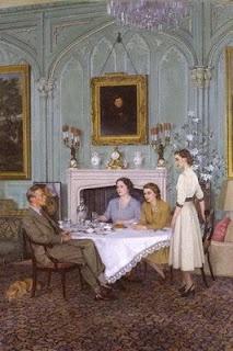 The Royal Family taking tea at the Royal Lodge, 1950.