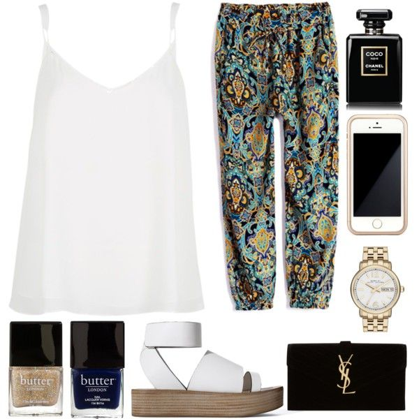 Untitled #28 by luxurydreamz on Polyvore featuring River Island, Zara, Yves Saint Laurent, MARC BY MARC JACOBS, Squair, Chanel, Butter London, pants and musicfestivalstyle