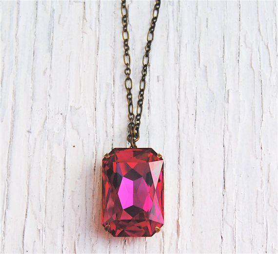 Hot Fuchsia Pink Pendant Necklace Swarovski Crystal by MASHUGANA