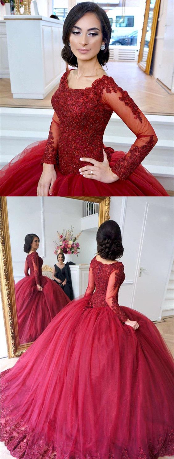 Lace Appliques Long Sleeves Tulle Ball Gowns Maroon Wedding Dresses