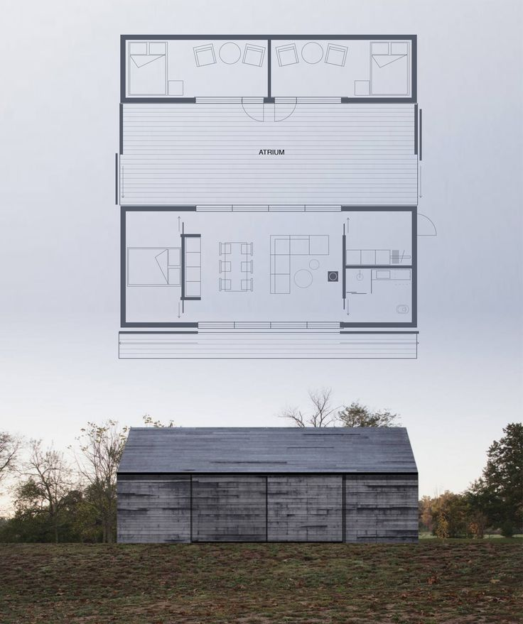 HUSLY (Design: Wullum), weekend house with an enclosed atrium. Large sliding doors to close the summer house completely when not in use