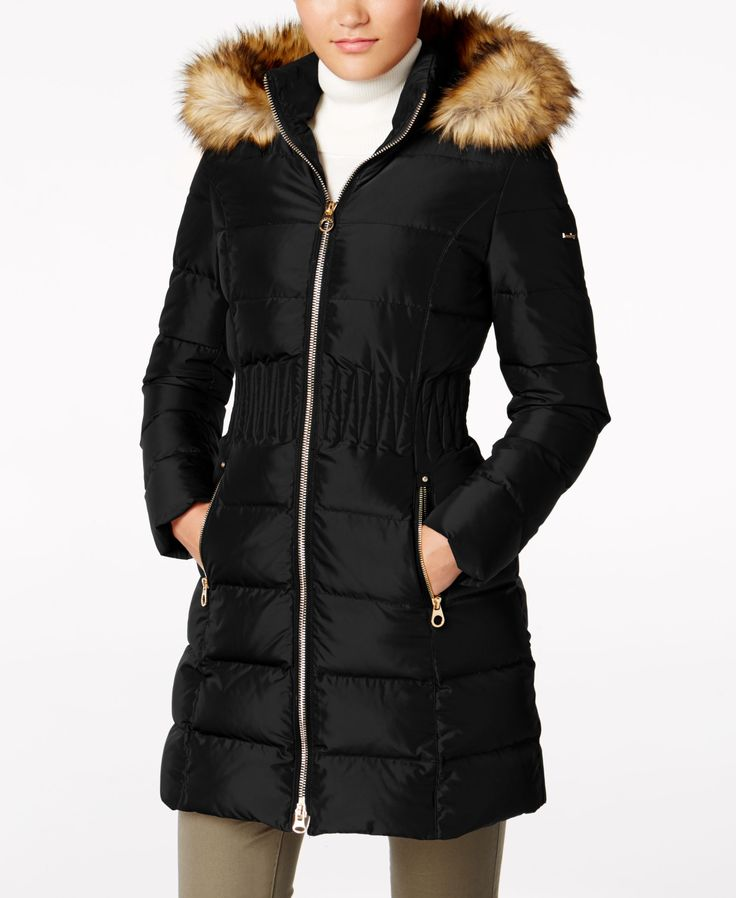 Smocking at the waist gives Laundry by Shelli Segal's down coat a stylish, cinched effect. Faux-fur trim is a plush finish, too. | Shell & lining: polyester; fill: down/feathers; faux fur: acrylic | M