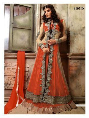 Rahi Fashion Red Net Embroidered Long Choli Lehenga Lehengas on Shimply.com
