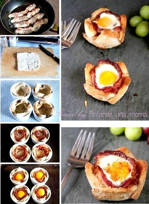 Tartaletas de Pan de Molde con Bacon y Huevo
