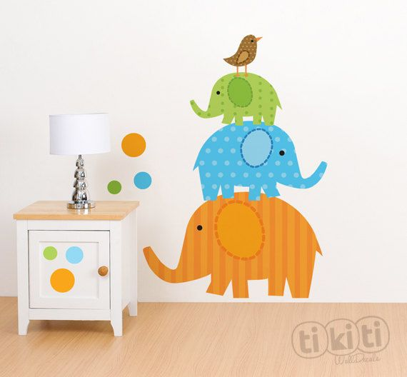 Hey, I found this really awesome Etsy listing at https://www.etsy.com/listing/155040589/wall-decals-elephants-bird-and-circles