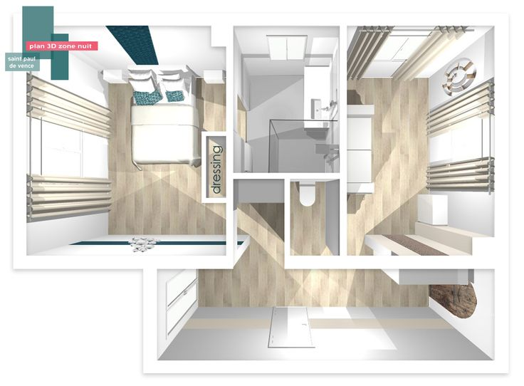 Plan 3d zone nuit b indoor http www b for Amenagement chambre 3d