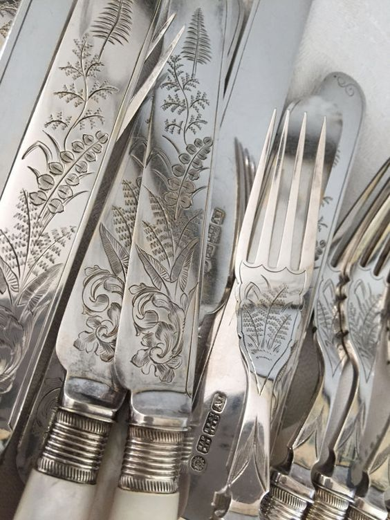 Beautifully engraved fish service