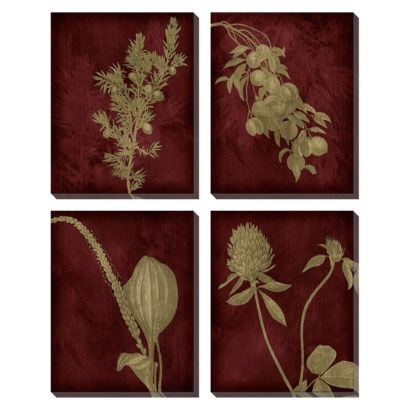 Etched Plants Group Wall Art Set Of 4 This Quartet Collection Can Add Shape To The Walls And Burgundy Hues Go Well With Crimson Maroon