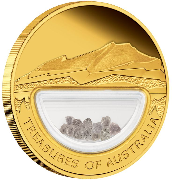 TREASURES OF AUSTRALIA DIAMONDS 1OZ GOLD PROOF LOCKET COIN