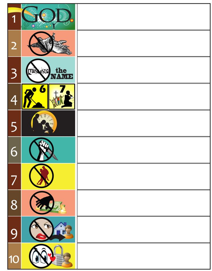 Worksheet to teach the 10 Commandments. Graphics and Clip Art for the 10 Commandments. Fill-in the Blanks Worksheet. Test.