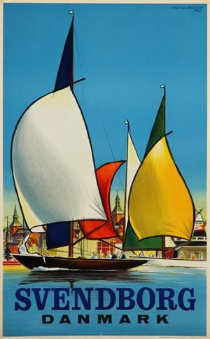 Lauritz.com - Grafik - Aage Rasmussen. Plakat, 'Svendborg Danmark', litografi, 1963 (cd) - DK, Vejle, Dandyvej