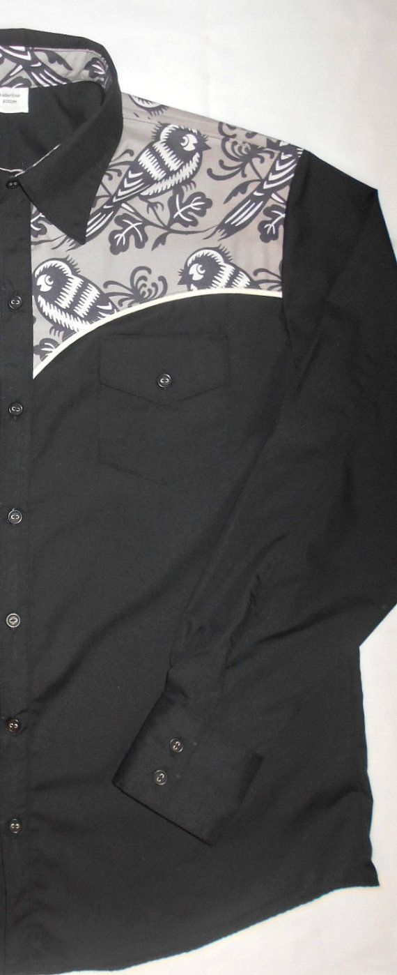 Made to order, unique western style short or long sleeve shirt. Each shirt features matching piping on front and back yoke and custom inner collar bands add to this shirts uniqueness.  I use Poly/Cotton broadcloth for the body because it doesnt fade, is super easy care and long lasting. The feature fabric is 100% cotton and pre-washed/shrunk. Just toss in the washer (cold water is best) and dryer and iron if you like extra crispness!  I only make a limited number of each style of shirt, so…