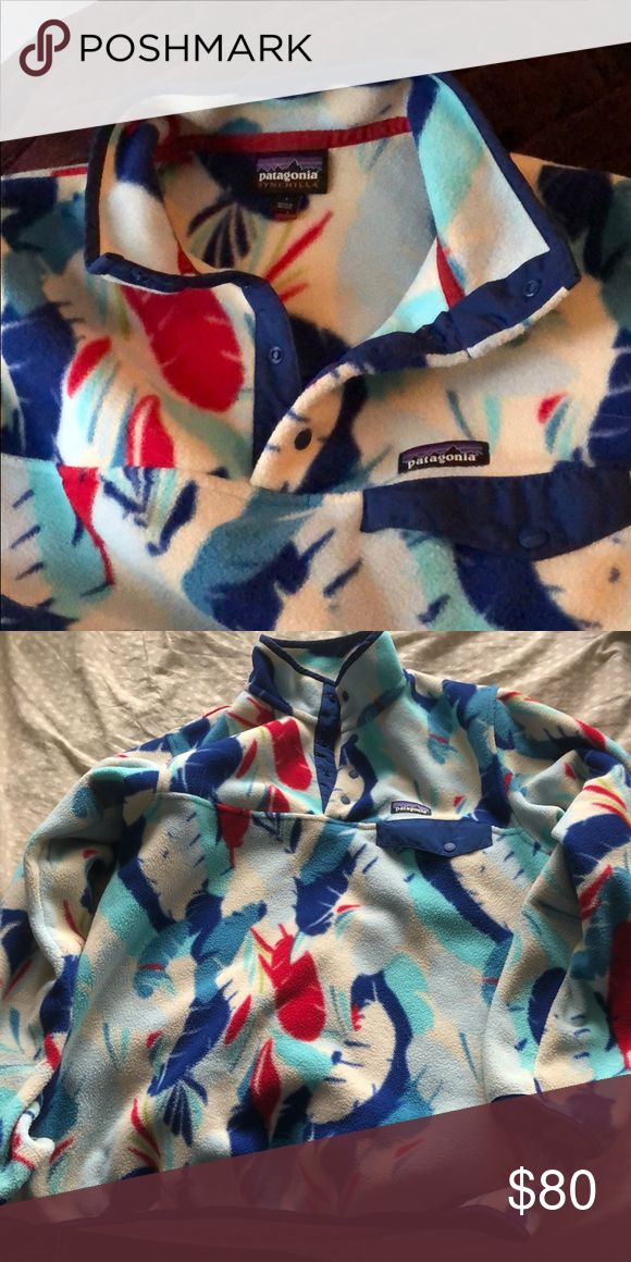 Patagonia Women's Fleece Red white and blue feather pattern Patagonia fleece pull over. Like new - worn only a few times and I got a new one that fits better. Patagonia Tops Sweatshirts & Hoodies
