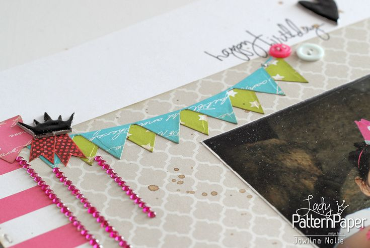 For this layout I combined old & new Basic Essentials, here's to memory keeping using the fabulous patterned papers from Lady Pattern Paper!