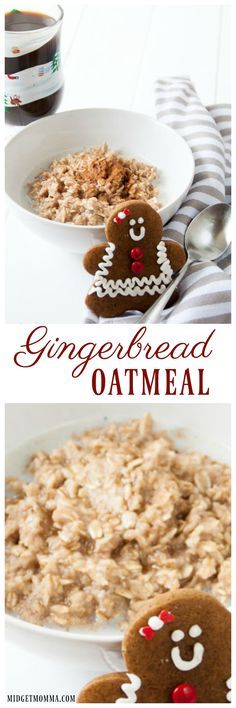 Gingerbread Oatmeal is the perfect breakfast for anyone who loves gingerbread cookies. Easy to make homemade oatmeal that tastes like Gingerbread cookies. #Gingerbread #Oatmeal #Breakfast