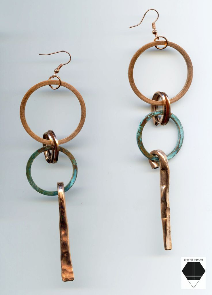 Geometric earrings - Circle earrings - Patina Copper Earrings - Turquoise Patina Finish - Hypoallergenic Earrings handmade copper jewelry by Lunaticonstuff on Etsy