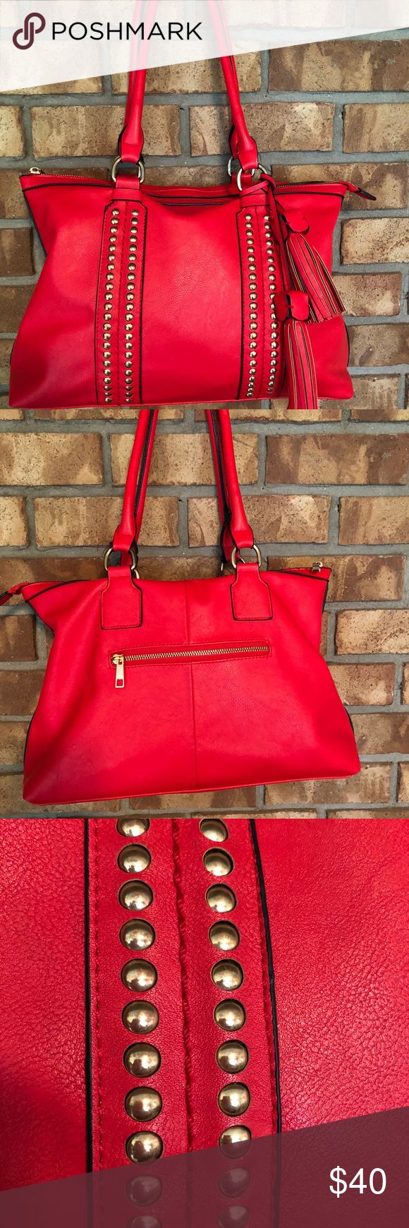 MMS oversized studded bag absolutely stunning red This bag is so pretty, no flaws inside has a couple small pen marks gold hardware MMS Design Studio Bags Totes