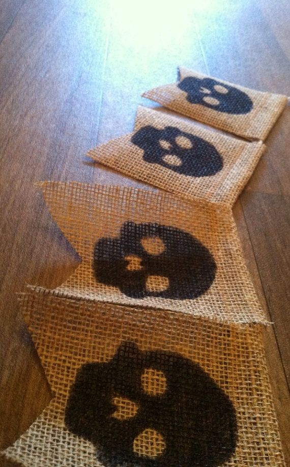 6 & 12 ct flags available  black skull Print  Handmade burlap banner  pirate themed party  by photoprintdesign