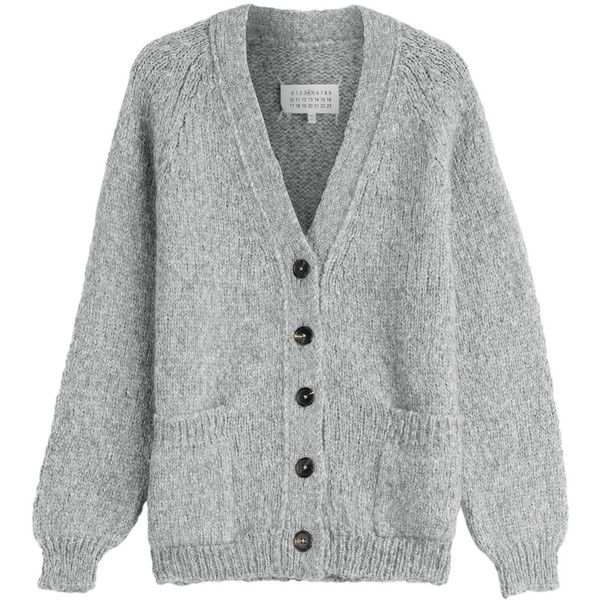 Maison  Margiela Alpaca Blend Cardigan ($375) ❤ liked on Polyvore featuring tops, cardigans, grey, gray cardigan, button front cardigan, slim shirt, v-neck tops and grey cardigan