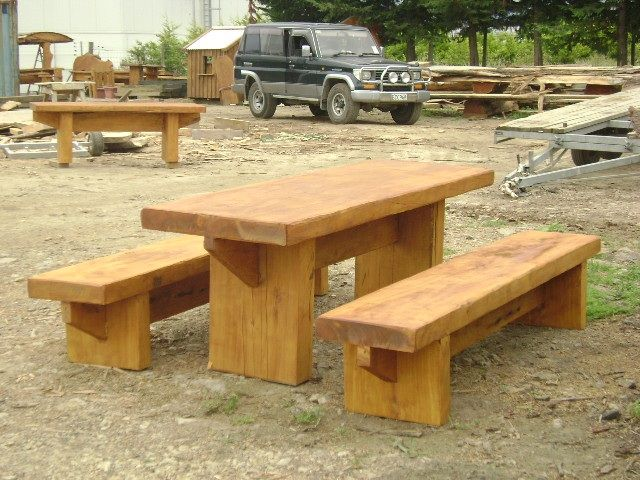 Inspired by the outdoors - The Macs Macrocarpa Outdoor Table Park Setting 2m $1280 2.4m $1540 3m $1790 - http://www.macsmacrocarpa.co.nz/page10.html